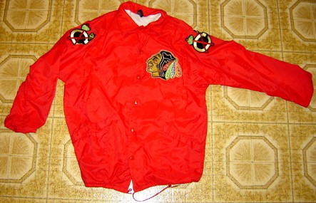 7a32f1d03a0 JEREMY ROENICK JACKET This is a red snap front jacket with a thin lining.  Two pockets. Everything is sewn on.  27 was Jeremy Roenick.